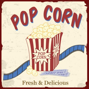 Popcorn with film strip and movie tickets poster