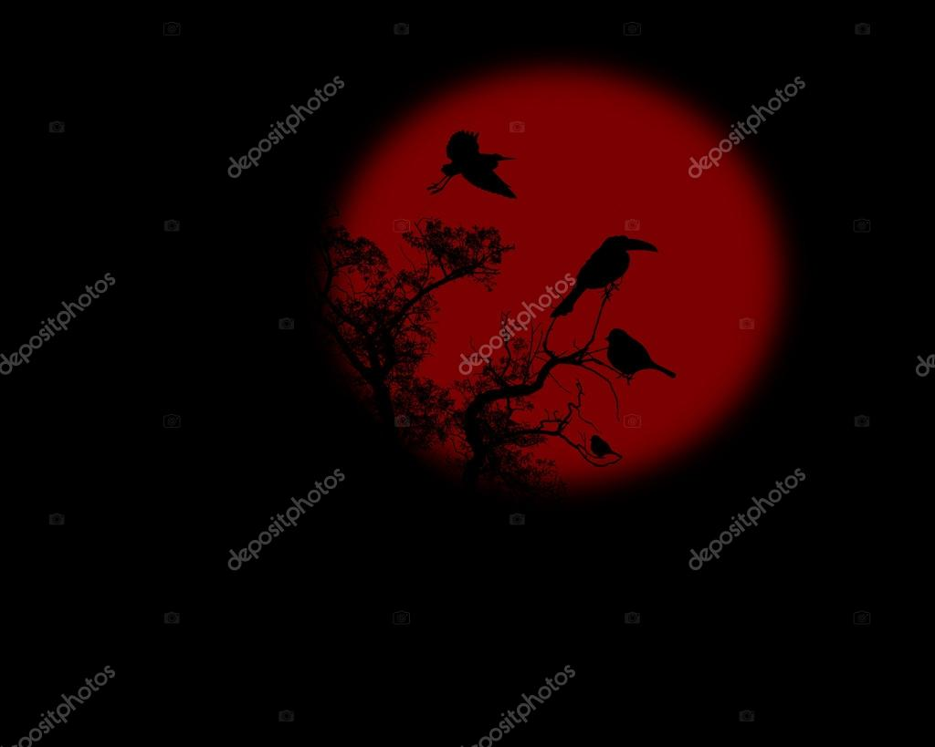 Night raven on a tree with red full moon