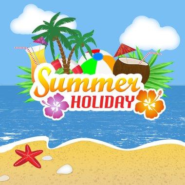 Summer Holiday poster background, vector illustration clip art vector