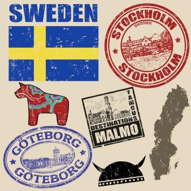 Set of Sweden stamps