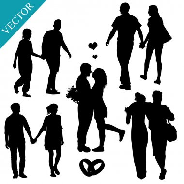 Romantic couples silhouettes on white background, vector illustration clip art vector