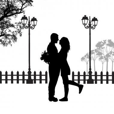 Romantic couple silhouette embrace in love on beautiful landscape, vector illustration clip art vector