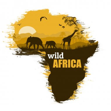 Wild african animals silhouettes on the map of Africa, with space for your text, vector illustration stock vector