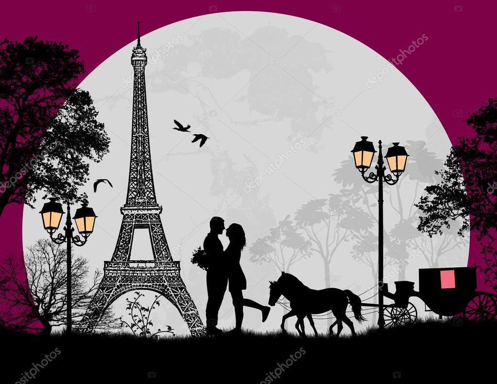Carriage and lovers at night in Paris, romantic background, vector illustration stock vector