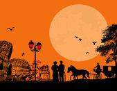paar von alten Menschen mit Pferd und Wagen