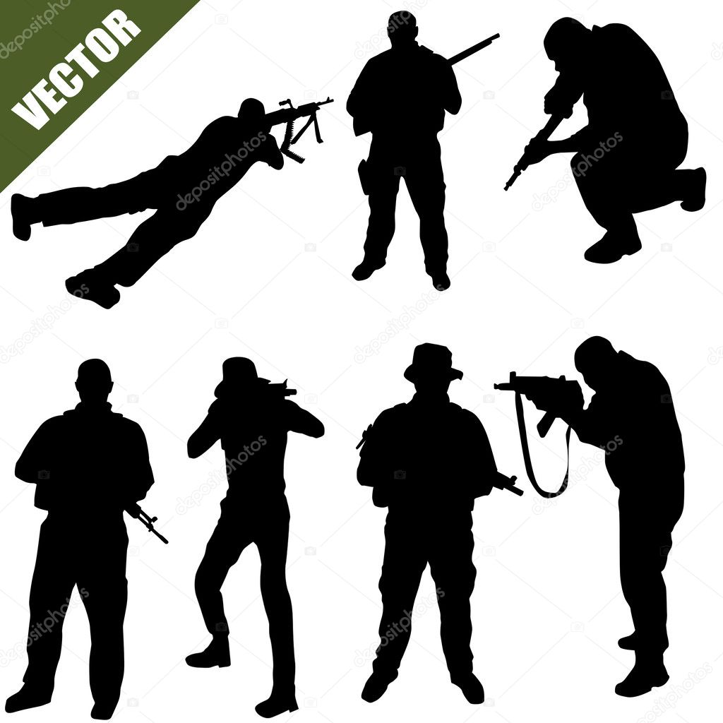 Army soldiers silhouette — Stock Vector © roxanabalint ...