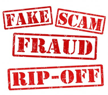 Fake, Scam, Fraud, Rip off stamps