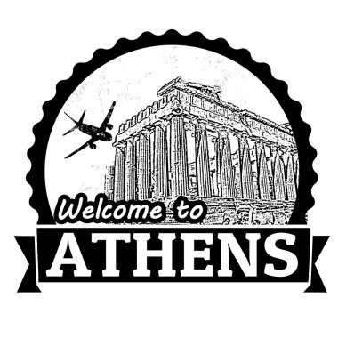 Welcome to Athens label or stamp