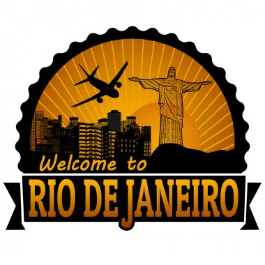 Welcome to Rio de Janeiro travel label or stamp on white, vector illustration clip art vector