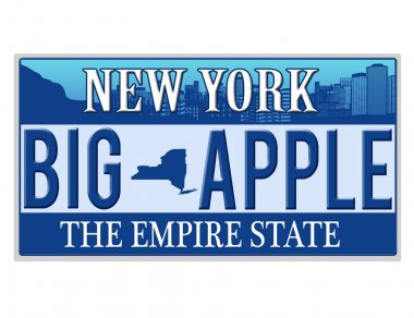 An imitation New York license plate with text BIG APPLE written on it making a great concept. Words on the bottom Empire State stock vector