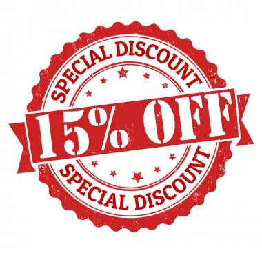 Special discount 15 off stamp