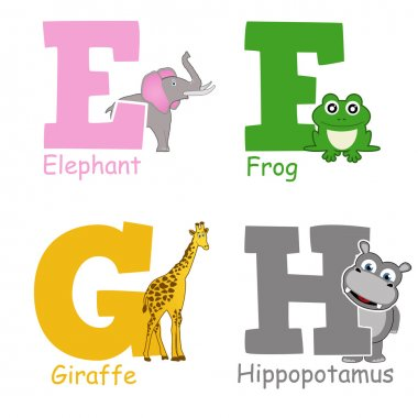 Alphabet animals from E to H