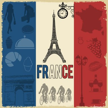 France travel grunge seamless pattern