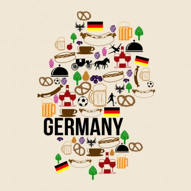 Germany landmark map silhouette icon