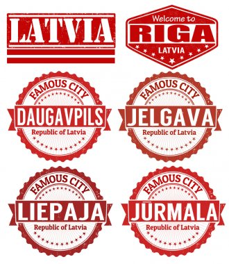 Latvia cities stamps