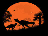 Fotografie Dinosaurs Silhouettes in front a full moon