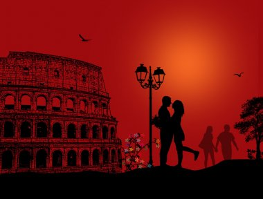 Couple silhouette in love in front of Colosseum in Rome on red night, vector illustration stock vector