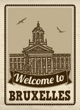 Welcome to Bruxelles retro poster