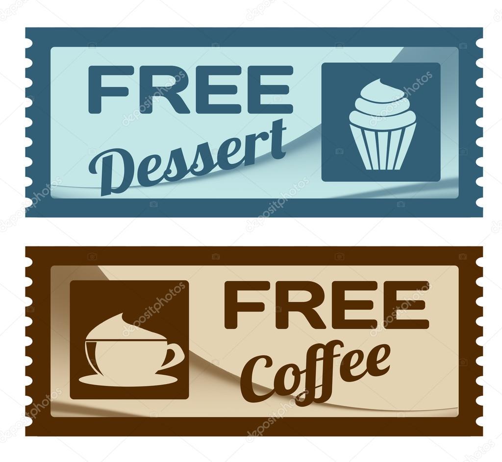 cupones de café y postre gratis archivo imágenes vectoriales
