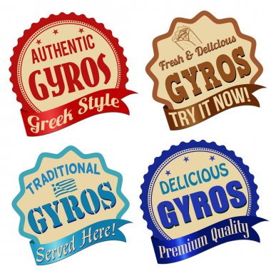 Gyros label, sticker or stamps
