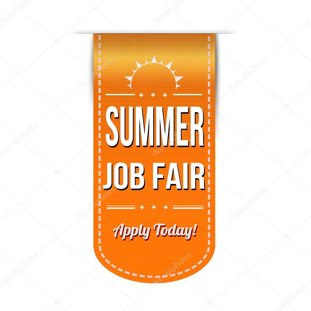 Banner design for job fair - Summer Job Fair Banner Design Over A White Background Vector Illustration Vector By Roxanabalint