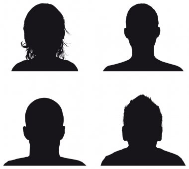 Set of profile silhouettes stock vector