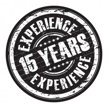 A hanging 15 years experience stamp