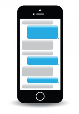 A blue mobile phone text messaging screen