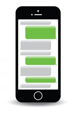 A green mobile phone text messaging screen stock vector