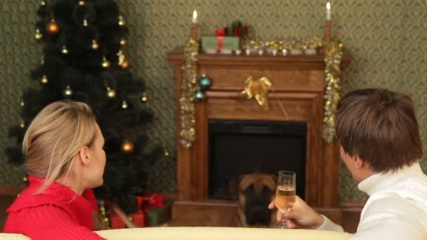 ett par och en hund sittplatser nära en öppen spis på nyårsafton