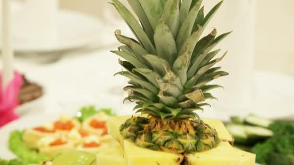 Fruit plate on a festive table.