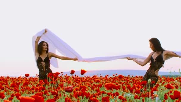 Two women posing for camera in a poppy field