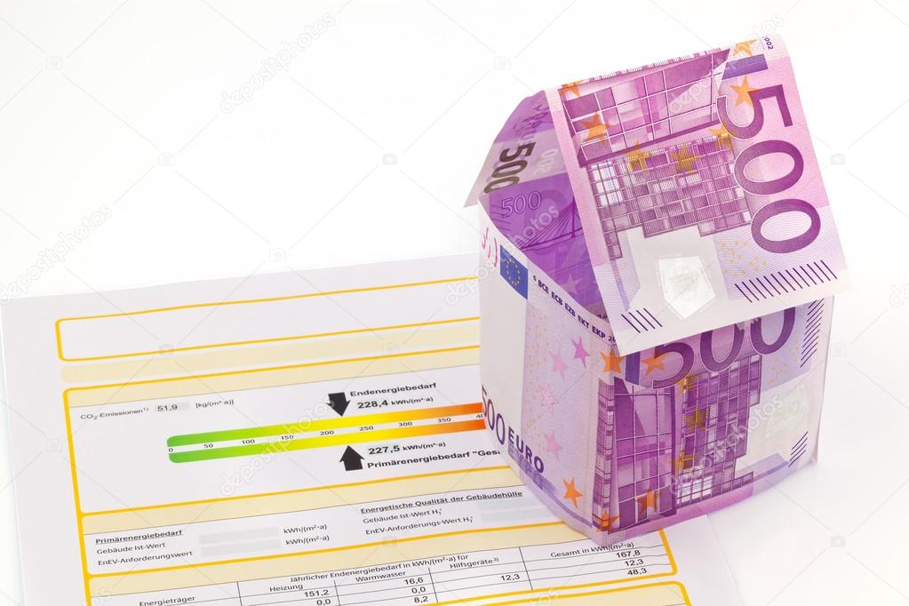 House Made Of Euro Banknotes And Energy Performance Certificate