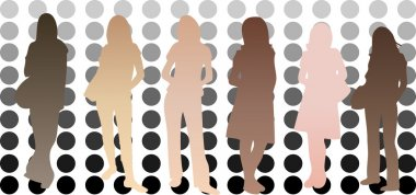 Silhouettes of girls with different skin tones