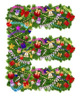 Letter E. Christmas tree decoration