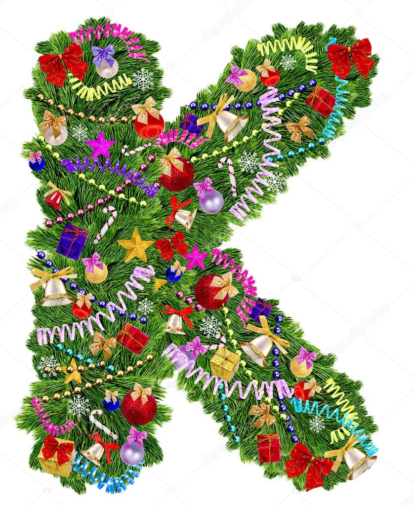 Letter k christmas tree decoration stock photo for Letter k decoration