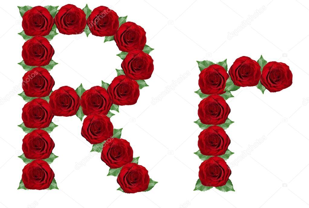 alfabeto de rosas rojas y hojas verdes — Foto de stock © Byelikova ...