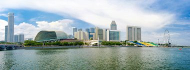 Panorama Singapore skyline and river during daytime stock vector