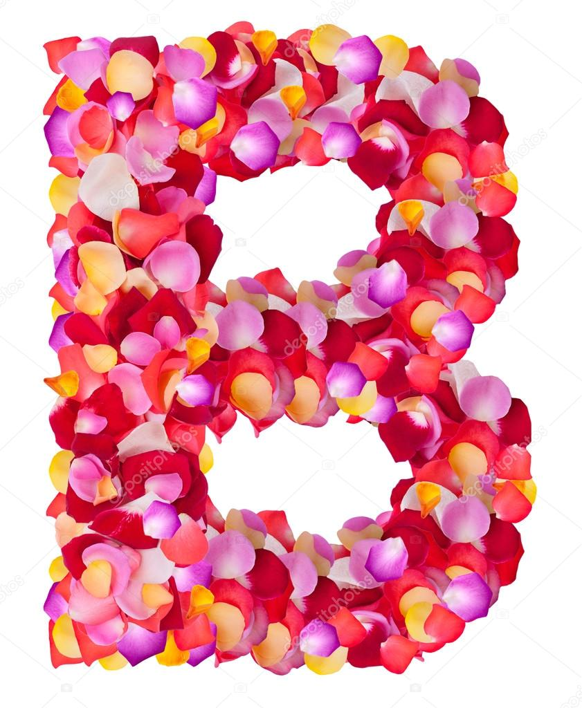 Letter B made from colorful petals rose — Stock Photo © Byelikova ...
