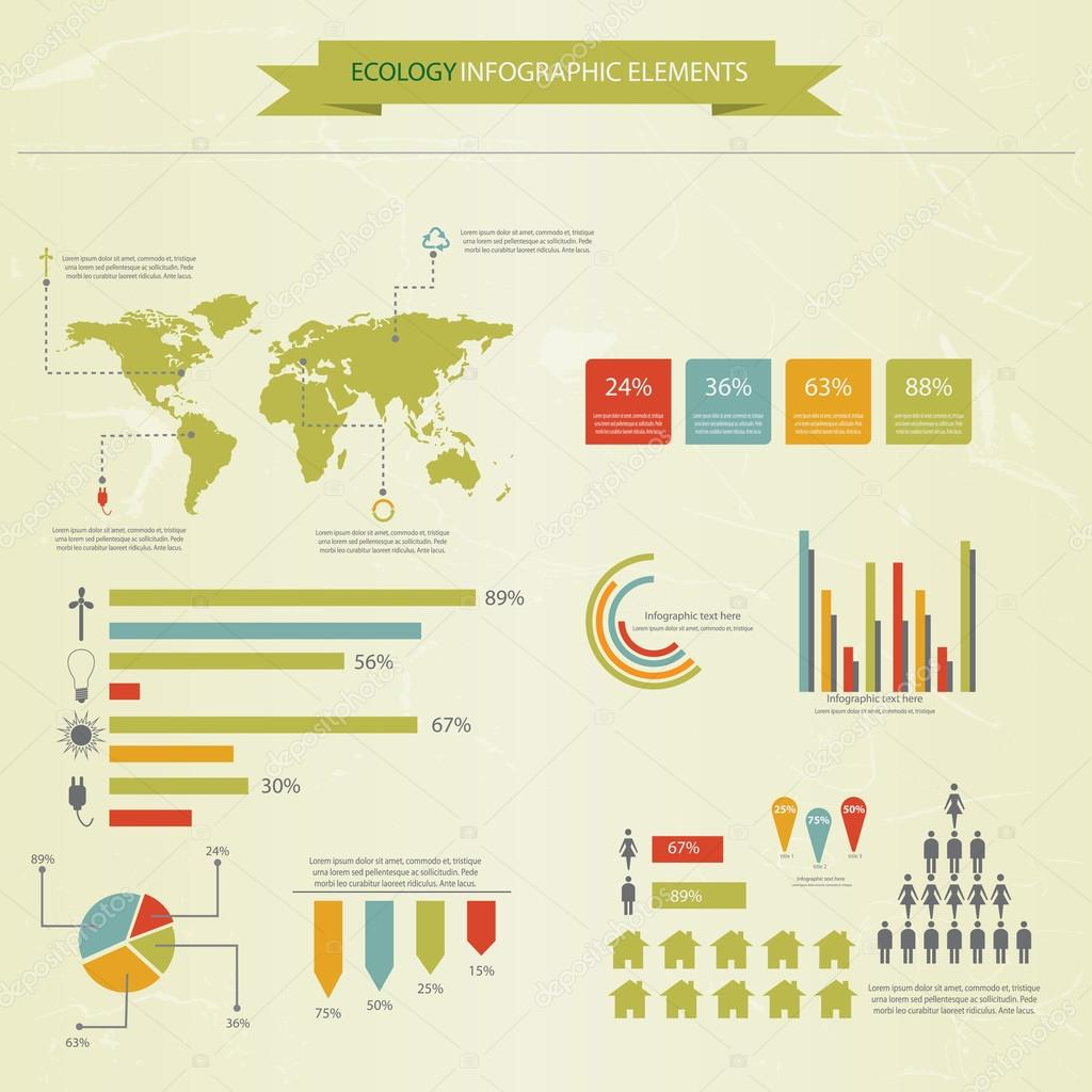Ecology infographics collection, charts, symbols, graphic. Vecto