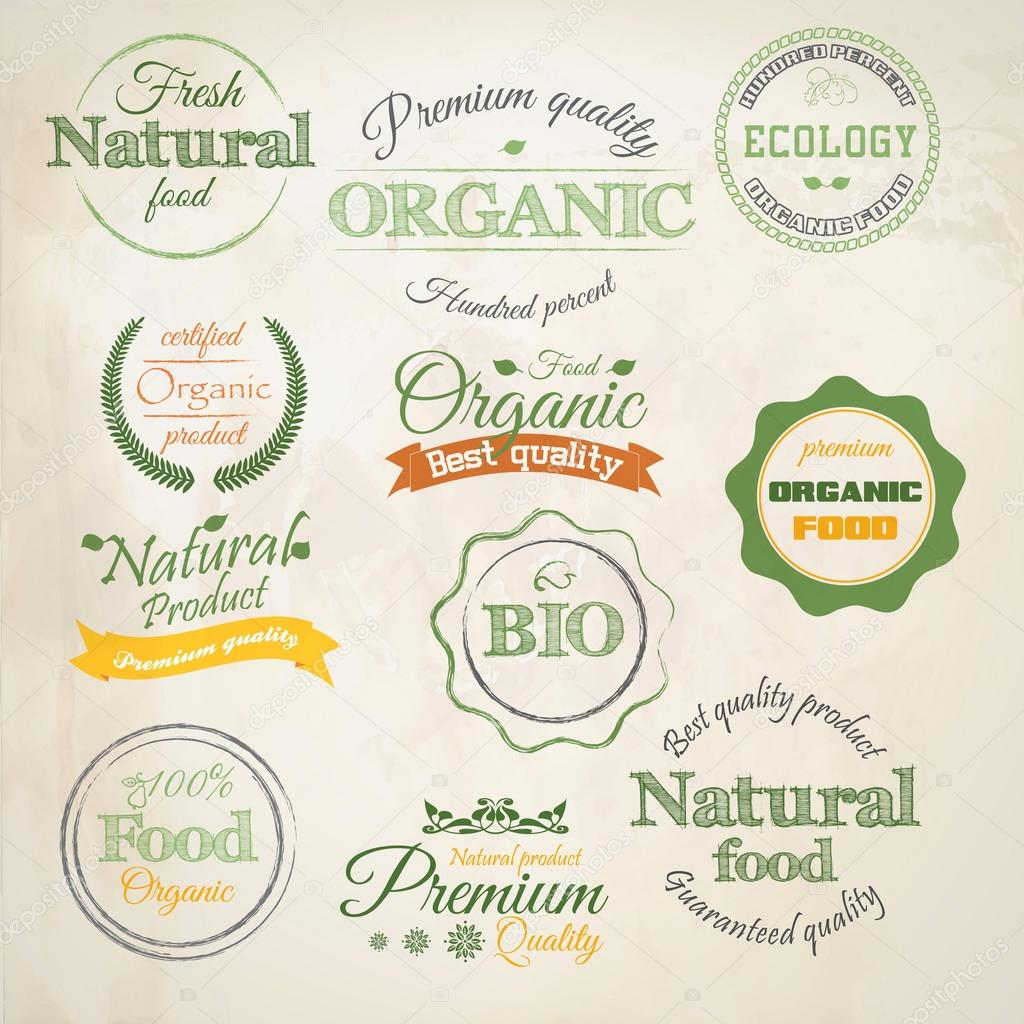 Retro styled Organic Food labels.Vector