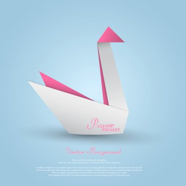 Origami swan.Vector