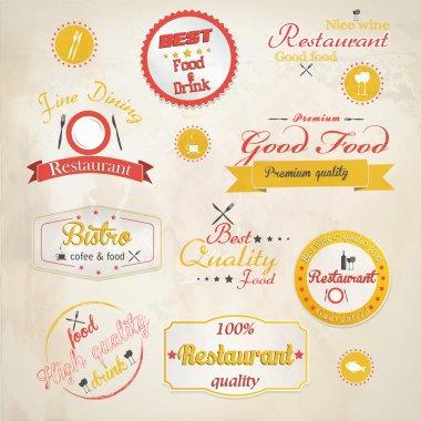 Set of vintage retro restaurant badges. Vector