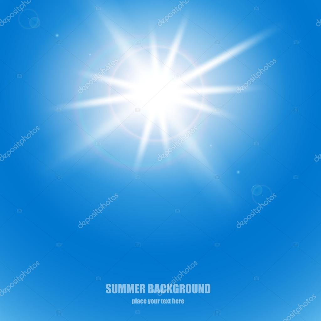 The sun in the blue sky. Vector