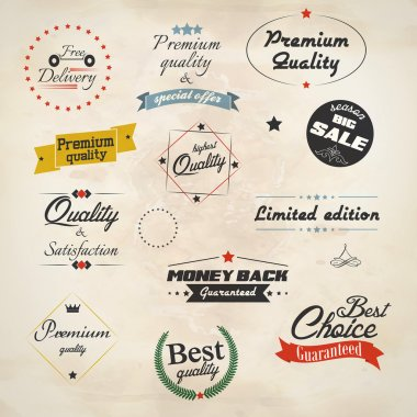 Vintage labels and ribbon retro style set. Vector