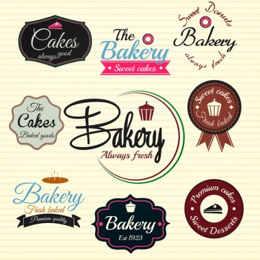 Retro Bakery Badges And Labels. Vector