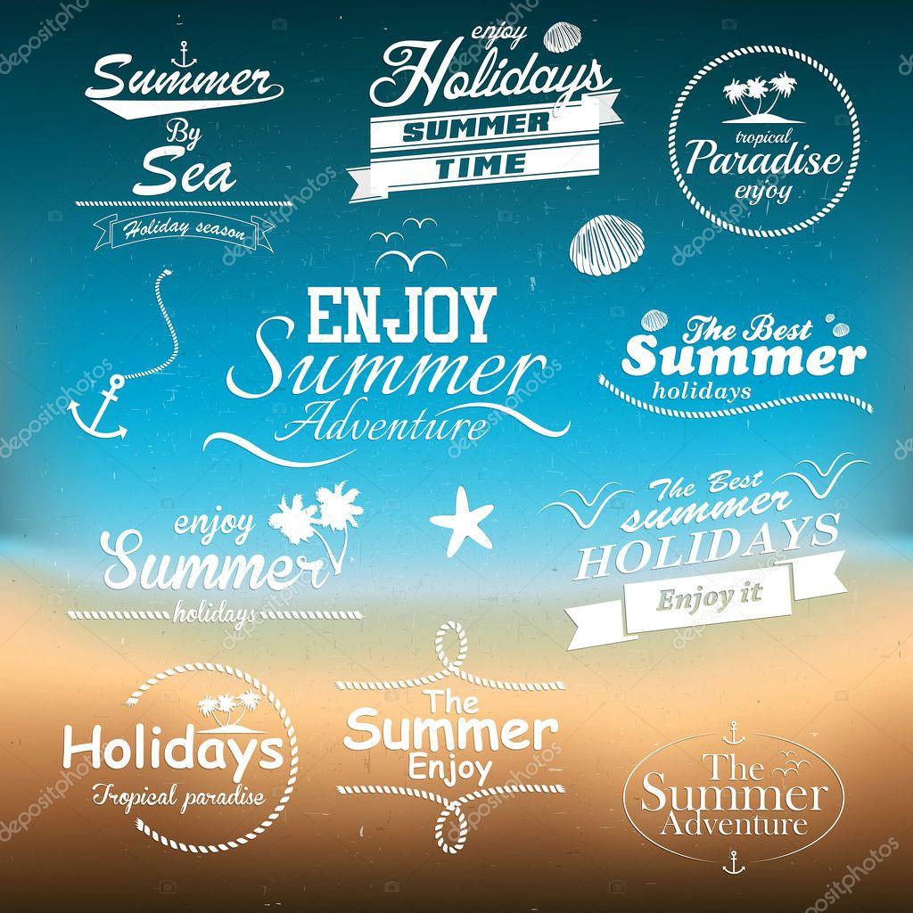 Vintage summer typography design with labels. Vectors