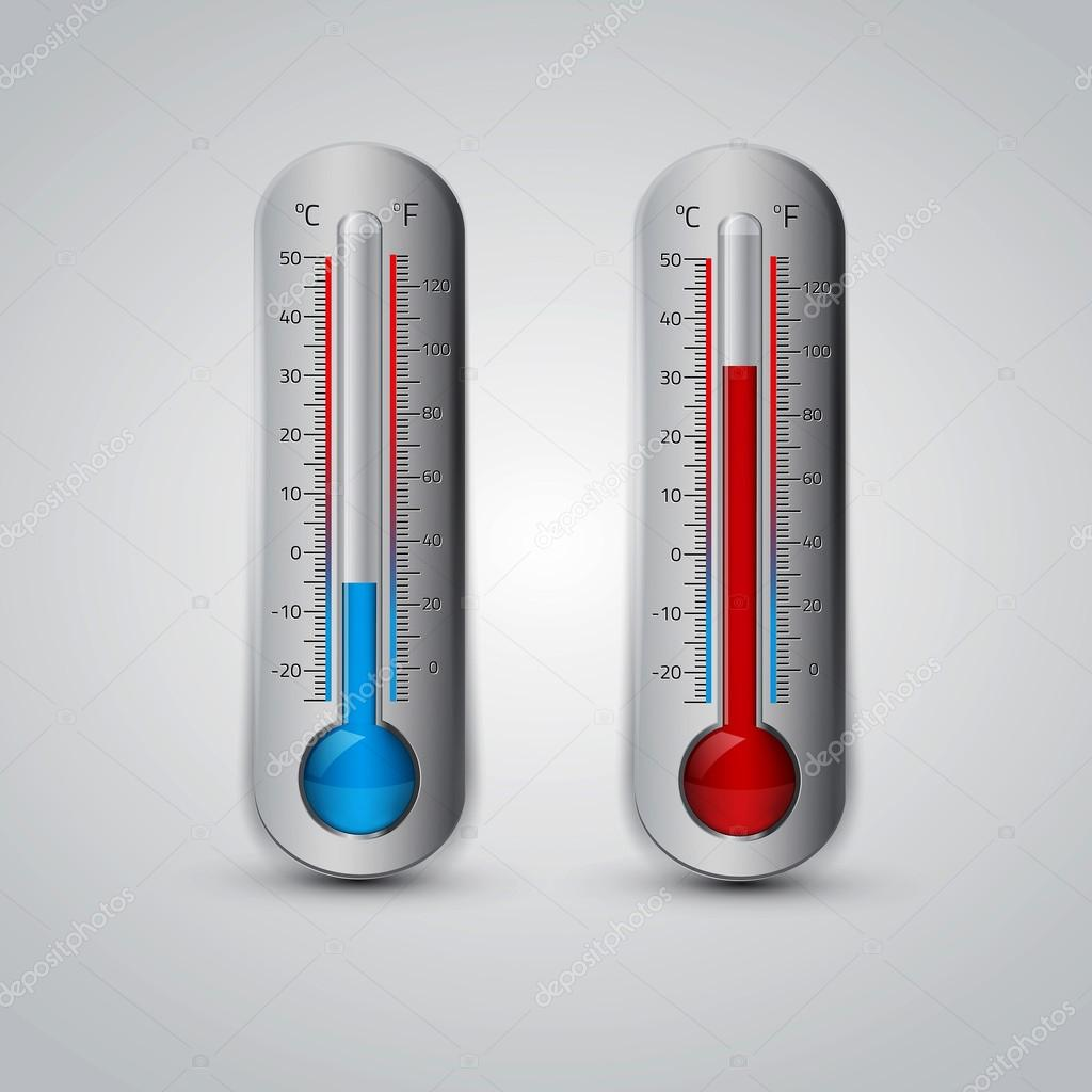 Thermometer icon. Vector. Celsius and Fahrenheit.