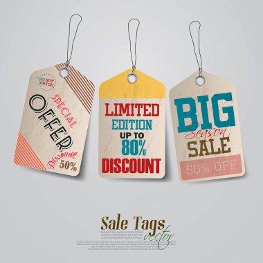 Vintage Sale Tags Design. Vector