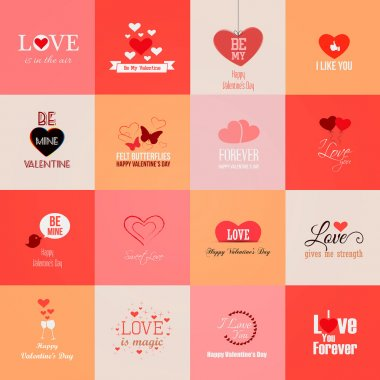 Happy valentines day cards. Vector clip art vector